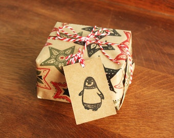 6 Penguin Gift Tags, Original Hand Printed Gift Tags, Christmas Gift Tags, Brown Kraft Card, Free Postage in UK,