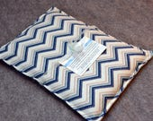 FLANNEL Microwave Heating Pad, Large Corn Bag, Microwave Heat Pack, Bed Warmer, Corn Heated Bag -- Large 10x14 --  Flannel Chevron in Blues