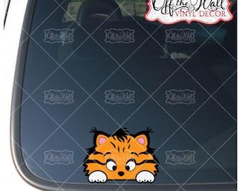 Peek-A-Boo Tabby Kitty Cat Vinyl Decal Sticker