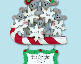 Merry Mouse Family of 5 HANDMADE Polymer Clay Personalized Christmas Ornament