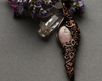 Rhodonite Necklace, Woodland Healing Jewelry, Healing Necklace, Pink Rhodonite Pendant, Boho Rhodonite Necklace