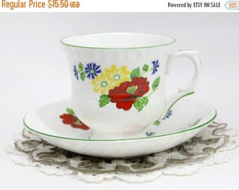 ON SALE Teacup Tea Cup and Saucer - English Crown Staffordshire - English Bone China 11462