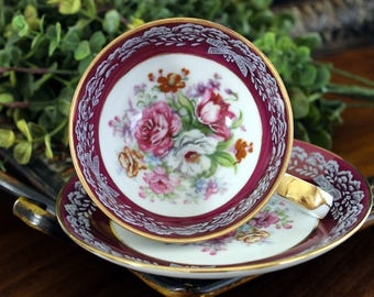Teacup and Saucer, Japanese Tea Cup,  Burgundy Banded with Mixed Florals, Porcelain Cups 14003