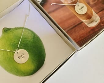 Tequila and Lime Necklace | Best Friend Necklace Set | Silver Bestie Necklace | Best Friend Jewelry | BFF Quote | Friendship Necklace
