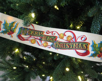 "Vintage 1970s Coated Paper MERRY CHRISTMAS Holly Berry Garland,  Package 20 Feet, Approx 2.5"" Wide Nostalgic Traditional Red Green Graphics"