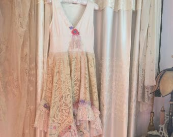 Romantic Lace Dress, cute cottage chic, altered cottage couture with vintage lace and hankie ruffles, SMALL