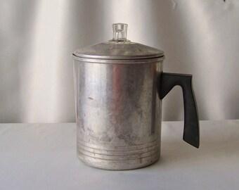 Vintage Percolator Aluminum Coffee Pot Survivalist Camping Stove Top Vintage 1970s