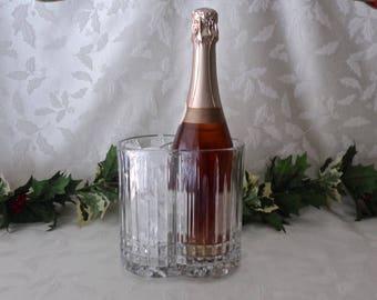Vintage Glass Wine Chiller Ice Bucket Celebrations Drink Chiller Barware Man Cave Vintage 1970s