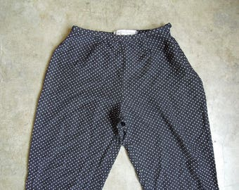 Vtg 80's 90's Pin Dotted Cropped Capri Pants Black & White Size Medium to Large
