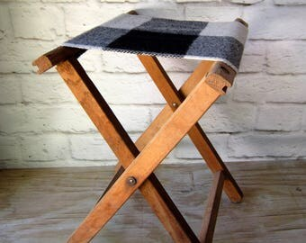 Vintage Camp Stool with New Pendleton Wool  Seat