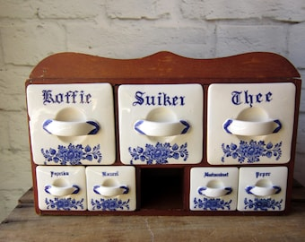 Vintage Dutch Wood and Porcelain Spice Rack Blue and White Kitchen French Country Decor Shop Display
