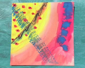 """Crush / Colorful Neon Watercolor Painting on Artist Grade 8"""" x 8"""" Paper"""