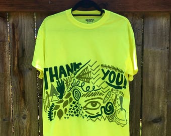 Painted Neon T-Shirt by Sam Pletcher /  Hand Painted Artist Clothing / One of a Kind Art