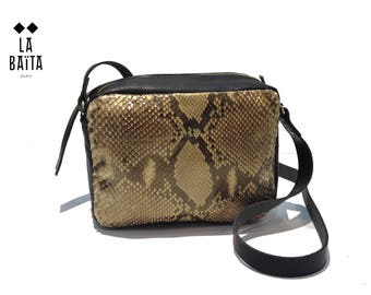 "handbag ""LOUISE"" black leather and python cream"