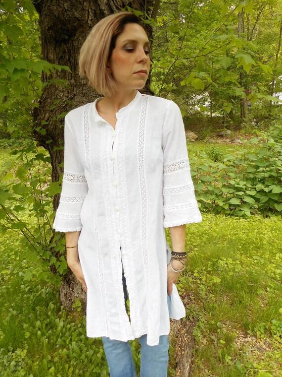 vtg white Gauzy Tunic shirt dress / s - l