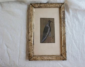 Vintage Bird Painting India Style Lavender Bird in Frame