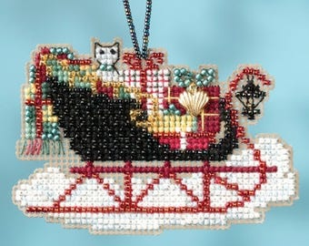 Vintage Sleigh Ornament - Christmas Cross Stitch Kit - Mill Hill Sleigh Christmas Ornament beaded counted cross stitch charm