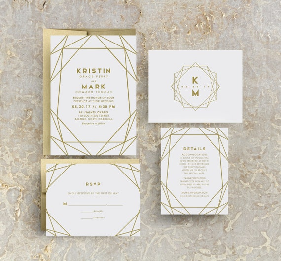 Gold Geometric Wedding Invitation Gold Wedding Gold Invites