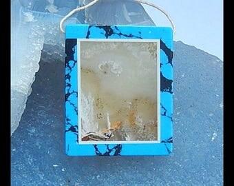 Ocean Jasper,Howlite,White Jade  Intarsia Pendant Bead,37x31x5mm,13.3g(h0108)