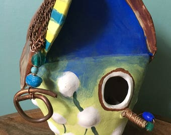 Ceramic Birdhouse with Dandelion Wishes