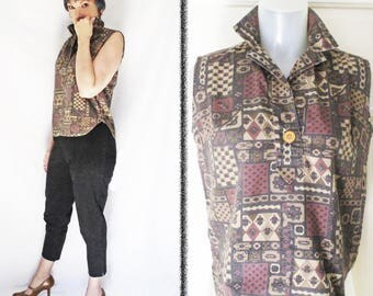 Casual Summer Blouse is a 50s Vintage Rockabilly Shirt and Sleeveless Cotton Top with Turn Up Collar, Retro Exotic Brown Print