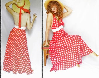 Summer Maxi Dress is a Maxi Halter Gown with Polka Dots, a 70s Backless Dress, Halter Neck Backless Garden Party Dress, Red and White