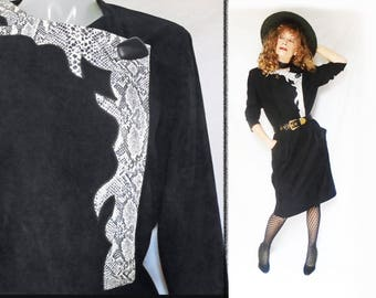 Plus Size Vintage Black Dress, Womens Dress for Fall 2017, Black Pencil Dress, 1980s Womens Vintage, Elastic Waist, Deep Pockets
