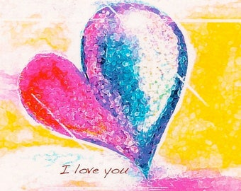 Valentine-Blue Heart-I Love You-ACEO- Colorful Art Print by SQ Streater
