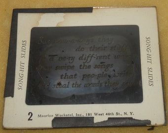 3 Antique Magic Lantern Song Hit Slides~Glass~Different Ones~