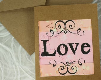 C114  Handmade Love Quote Friendship Note Card Greeting Card Love NoteCard Urban Gypsy Greeting Card