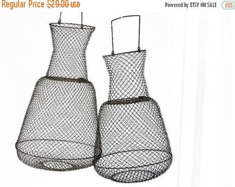 1 medium French vintage round  wire fishing  basket , wire basket, fishing basket