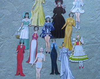 FREE SHIPPING...early Joan Crawford paper doll with costumes from movies made in the 1930's and 1940's, created by Tom Tierney