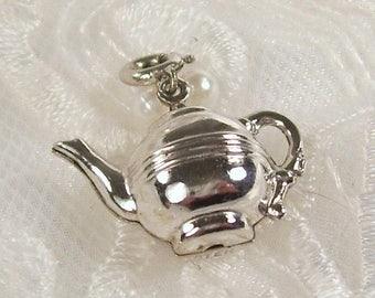 ON SALE Vintage Charm Pendant Sterling Silver Tea Pot Teapot Water Kettle