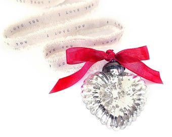 Silver Mercury Glass Ornaments . glass heart ornament . 25th anniversary gift for parents . silver anniversary . personalized glass ornament