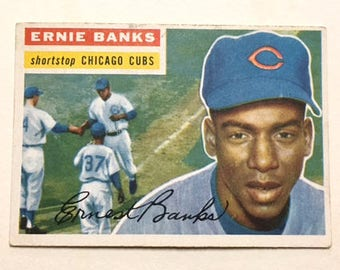 Topps 1956 Baseball Cards, Chicago Cubs Pitcher Ernie Banks card