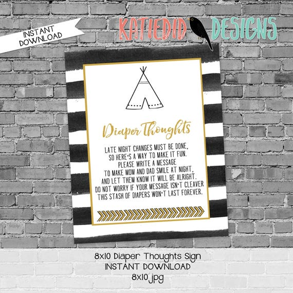 Diaper sign baby shower game 8x10 diaper thoughts advice arrow sprinkle wild things teepee tribal rustic chic printable neutral 292 stripes