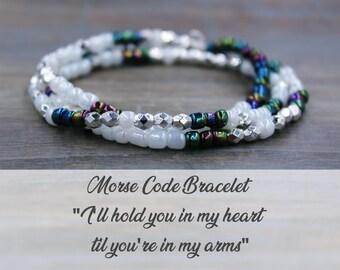 Long Distance Relationship Bracelet - Distance Bracelet - Long Distance Relationship Gift - Long Distance Morse Code Bracelet for Girlfriend
