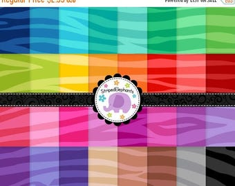 40% OFF SALE Zebra Digital Papers Bright, Animal Print Digital Scrapbook Paper, Zebra Print Digital Backgrounds, Commercial Use