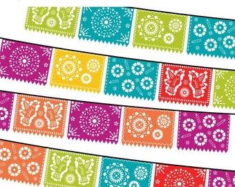 40% OFF SALE Papel Picado Clipart, Digital Fiesta Mexican Banners Clip Art, Cinco de Mayo Clip Art, Printable Papel Picado - FIESTA