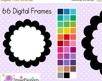 40% OFF SALE Double Scalloped Frames - Clip Art Frames - Instant Download - Commercial Use
