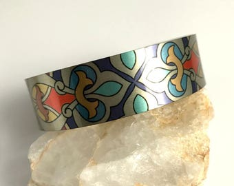 Bright Metal Cuff Bracelet, wide silver aluminum adjustable boho bohemian bangle stacking bright colorful birthday gift gifts for her