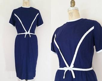 20% OFF SALE 1960s Navy Linen Dress // DIVIDING Line Dress // Vintage 60s Blue and White Wiggle Dress // Small Medium