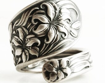 Silver Tiger Lily Ring, Sterling Silver Spoon Ring, Floral Art Nouveau Whiting Lily, Flower Ring, Gardener Gift, Adjustable Ring Size (6671)