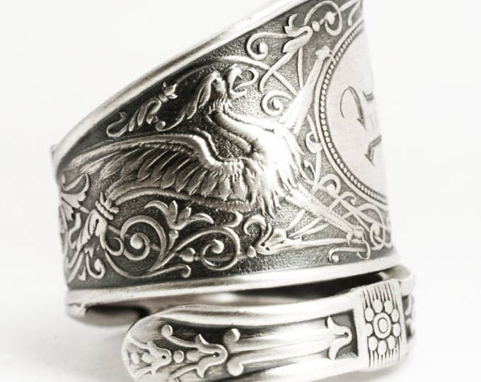 Griffin Ring, Sterling Silver Spoon Ring, Griffon Ring, Silver Dragon Ring, Sterling Dragon Jewelry, Engraved R, Adjustable Ring Size (6913)