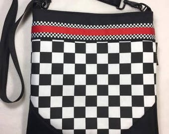Checkered Crossbody Bag, Racecar Purse, Racecar CrossBody, Checkered Purse, checkered bag, Racecar Purse, Racecar Bag,  RTS