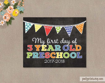 First Day of 3 Year Old Preschool Chalkboard Printable Sign - Printable First Day of School Sign - INSTANT DOWNLOAD - 507