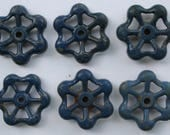 6 Blue Vintage Faucet Handles-Funky knobs-Super Shabby Chic Blue Variety-Shipping Special-Furniture rehab accessories-Outdoor projects