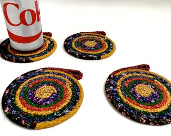 Clothesline Coiled Rope Coasters  Set of 4  Country Colors   Handmade Large Drink Coasters  OOAK Fiber Art  Absorbent Drink Coasters