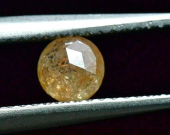 0.51ct 4.8mm round rose cut diamond cayenne orange 4.8mm by 2.5mm