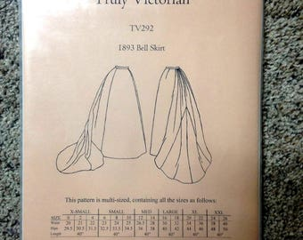 TV292 Truly Victorian Steampunk Gibson Girl Skirt Sewing Pattern 1893 Bell Skirt Uncut MULTI SIZES for costumes, reenactments & cosplay